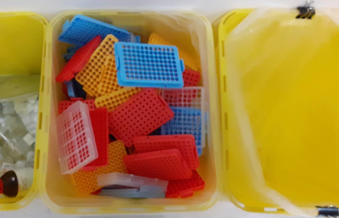Trays in a bin